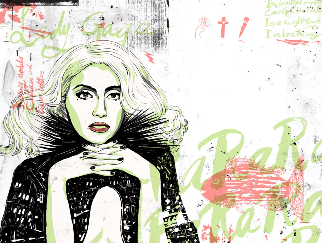 lady gaga magazine illustration