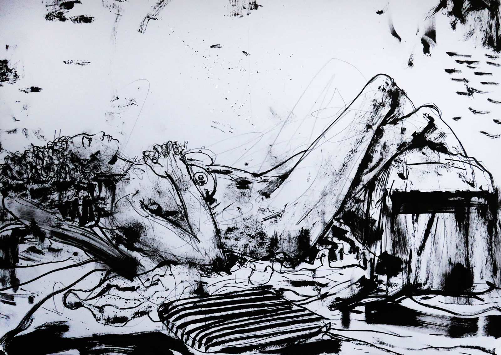 Breanna daydreaming nude ink drawing
