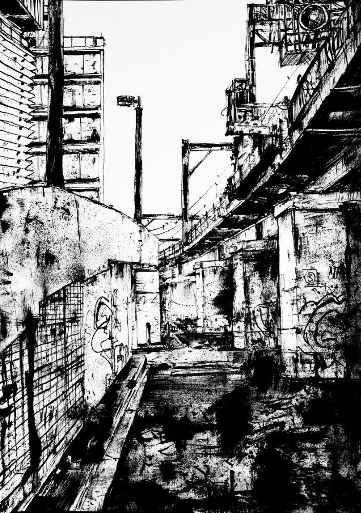 Flinders St Train Bridges ink drawing