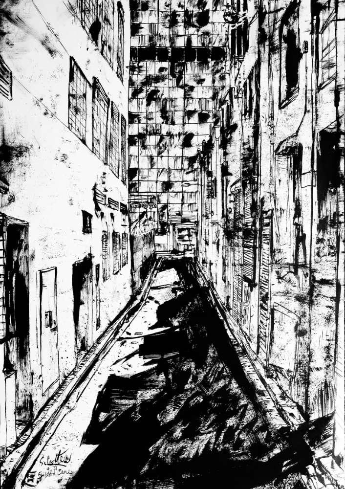 Guildford Lane ink drawing