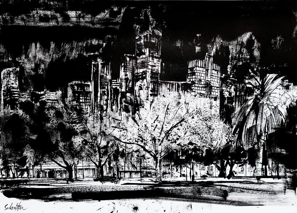 melbourne skyline night ink drawing